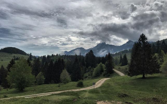 Blick zurück Richtung Frasdorfer Hütte und Kampenwand