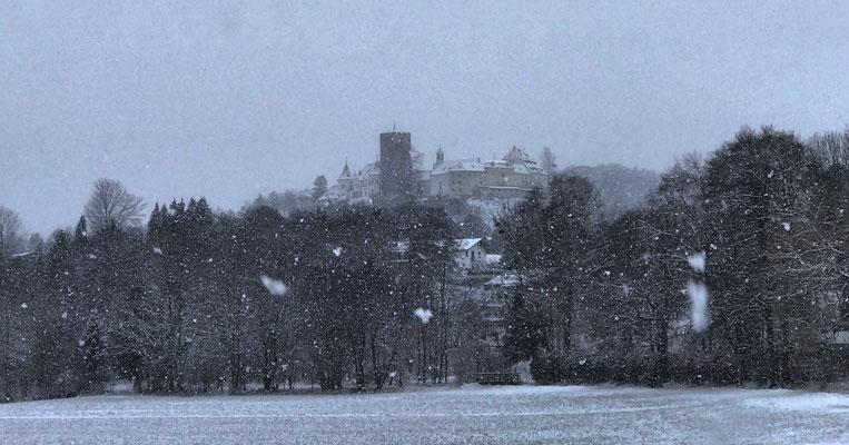 Blick zurück auf das Schloss Neubeuern