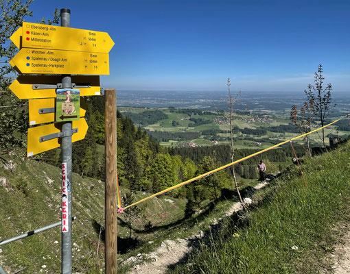 Abzweigung zur Ebersberger Alm nach dem Aufstieg vom Moserboden