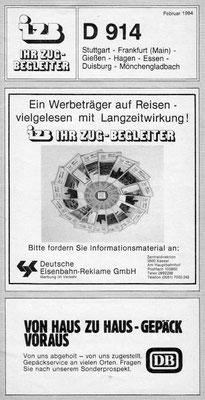 IZB D915 von Stuttgart nach Mönchengladbach über Siegen 1984