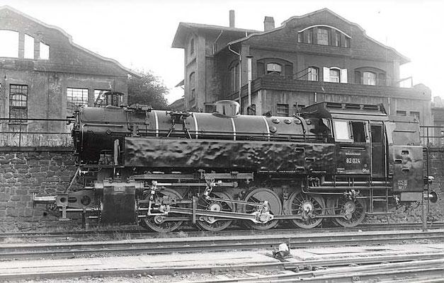 Weidenau 1952: fabrikneue DB Dampflok 82 024 Bw Siegen