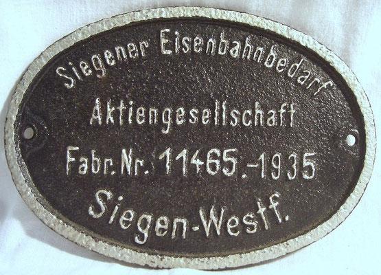 1935: Siegener Eisenbahnbedarf AG, Fabrik-Nummer 11465
