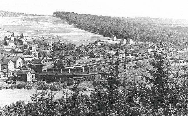 Der Rundlokschuppen des Bw Kreuztal in den 30er Jahren
