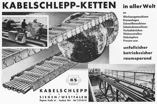 1959 Kabelschlepp-Ketten aus Siegen