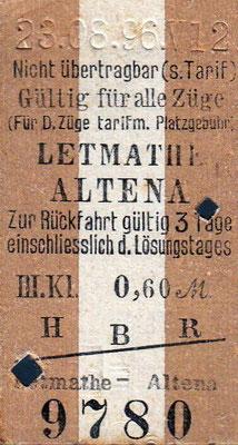 Fahrkarte von Letmathe nach Altena vom 23.08.1896