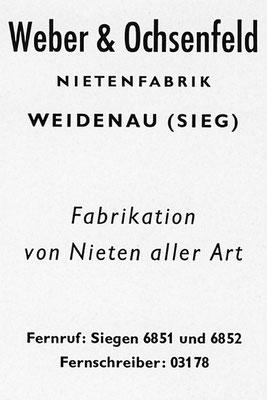 1953 Weber-Nieten aus Weidenau