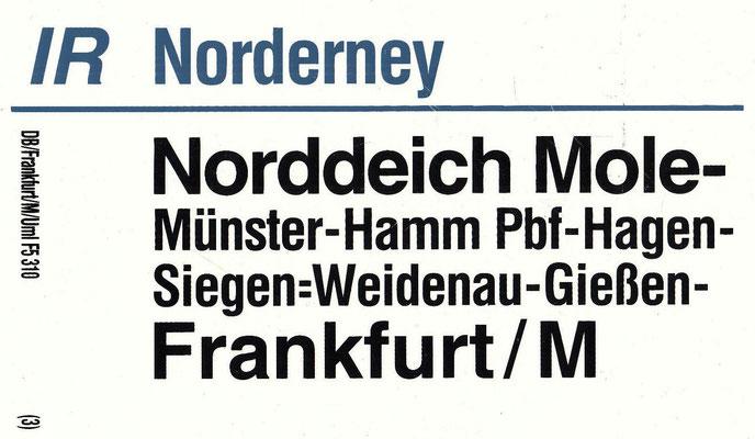 IR Norderney von Frankfurt nach Norddeich über Siegen-Weidenau 1990