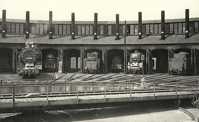 Der Ringlokschuppen am 6. Mai 1951 mit Dampfloks der Baureihen 39, 41, 55.15 und 58.10 (Aufnahme: Carl Bellingrodt, Wuppertal)