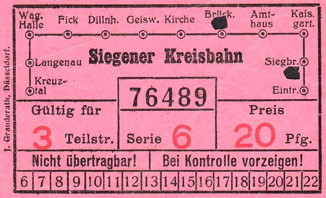 Strassenabhnfahrkarte 1930