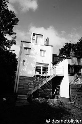 réalisation enduits de façade et terrasse acier-bois - Lucanre zinc - box on the roof Profondeville