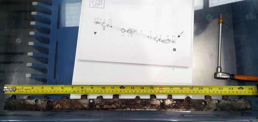 barra usata consumata dal cilindro stampa (lavoro eseguito in officina).