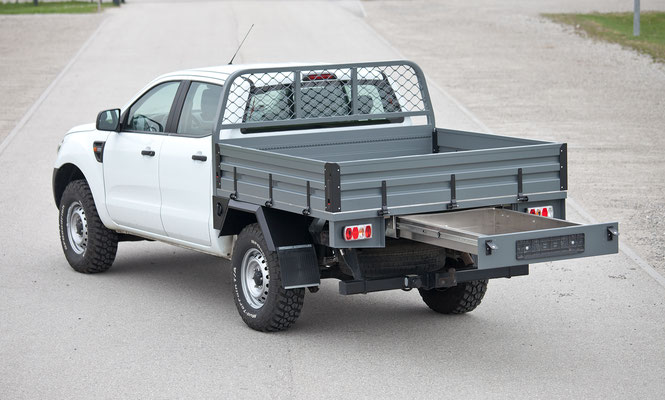 PEPEC - Ford Ranger 2012 Flachbett Pritsche / Ladefläche mit Toolbox und Heckauszug, Flachpritsche, Pickup Pritsche, Flachbett