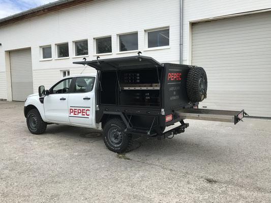 PEPEC - Ford Ranger Pickup Ladefläche Flachbettpritsche Flachpritsche mit Box Aufbau