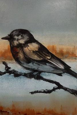 """""""Eagle Eye"""" 24x18, monotype/charcoal, 2018"""