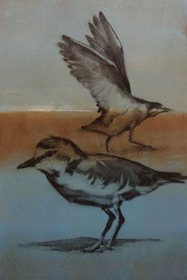 """Bird Talk"" 24x18, monotype/charcoal, 2018"