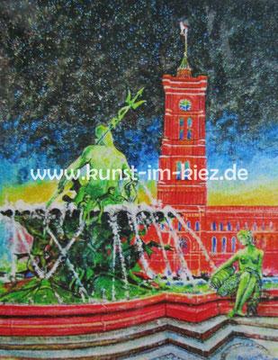 Rotes Rathaus-Dieter W. Glathe- 40x50 cm-Acryl-Gel-auf Leinwand