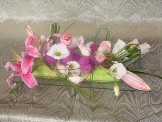 CT4-Lis rose, lisianthus blanc et rose rose
