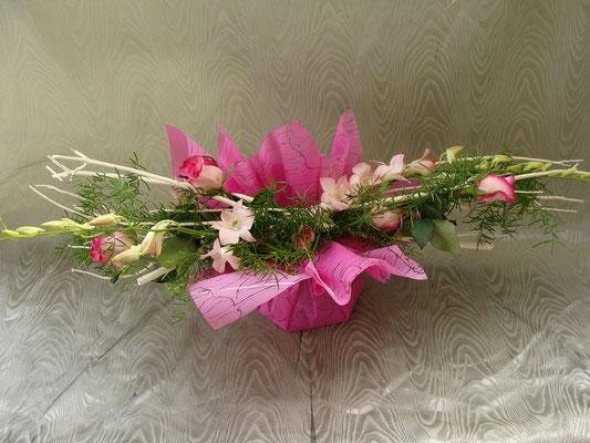BHS2-rose rose et dendrobium rose