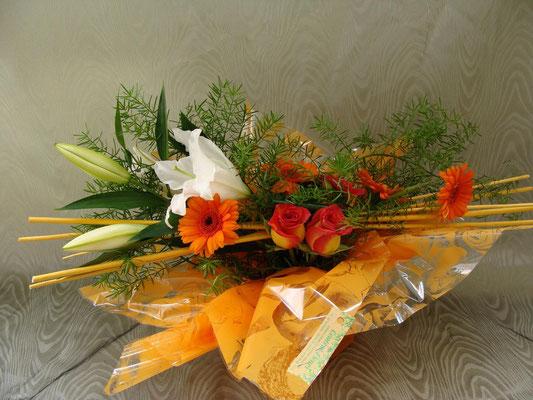 BHS5-lis blanc, germini orange et rose orangé