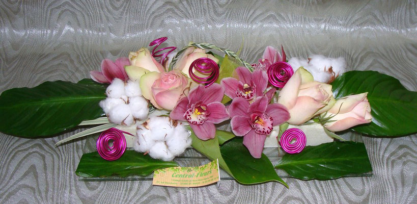CT2-Cymbidium rose,rose rose et fleurs de coton