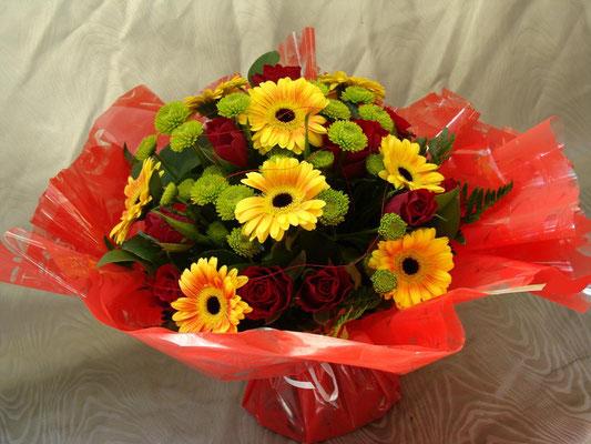 BR11-Rose rouge, germini jaune et santini vert
