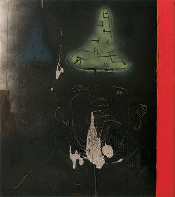 """""""Ethnologen der Kunst"""", 92x52cm, Mischtechnik / Bitumen auf LW, 2014"""