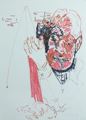 """""""Philosoph und Freimaurer"""", Papierarbeit, 59,5 x 42 cm, Ölkreide auf Bütten, 2011"""
