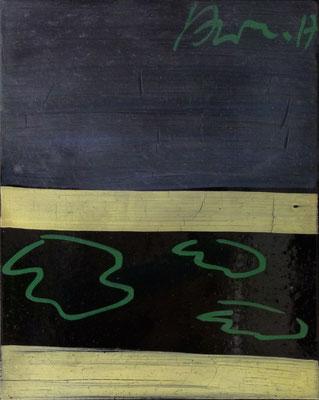 """""""stage"""" 1-8, je 50x40cm, Hinterglasfarbe auf Bitumen poliert, 2017"""