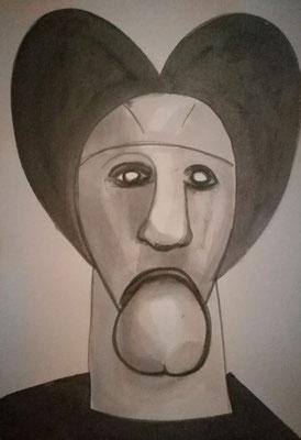 """Head 27"", 1-27, 80x60cm, China Tusche auf Bütten, 2020"