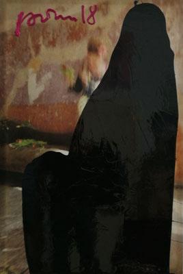 """Flamenco10"", 100x80cm, Öl, Strukturpaste auf Ink-jet Leinwand,2018"