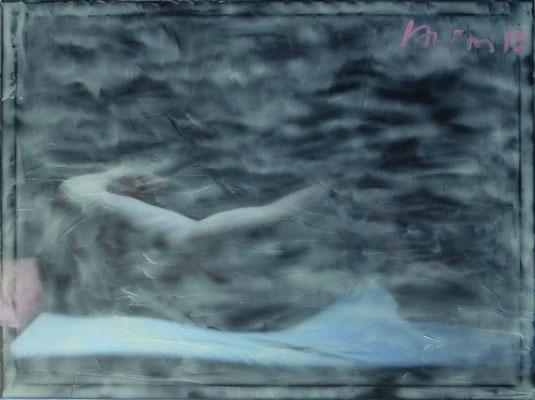"""""""Caravaggios Sleep 1"""", 100x75cm, Öl, Strukturpaste auf Ink-jet Leinwand, 2018 (Privatsammlung Deutschland/Berlin)"""