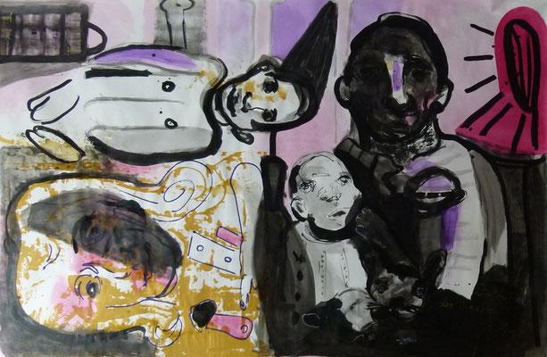 """""""Drama des (un-)begabten Kindes"""", 290 x 190 cm, Mischtechnik auf Leinwand, 2013"""
