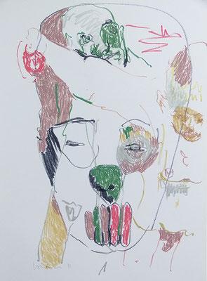 """""""Voodoo"""", Papierarbeit, 59,5 x 42 cm, Ölkreide auf Bütten, 2011"""
