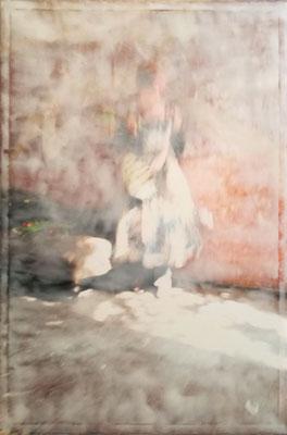 """Flamenco2"", 100x80cm, Strukturpaste/Malbutter auf Ink-jet Leinwand, 2018"