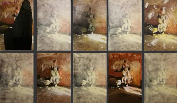 """Flamenco1-10"", je 100x80cm, Öl, Strukturpaste auf Ink-jet Leinwand,2018"