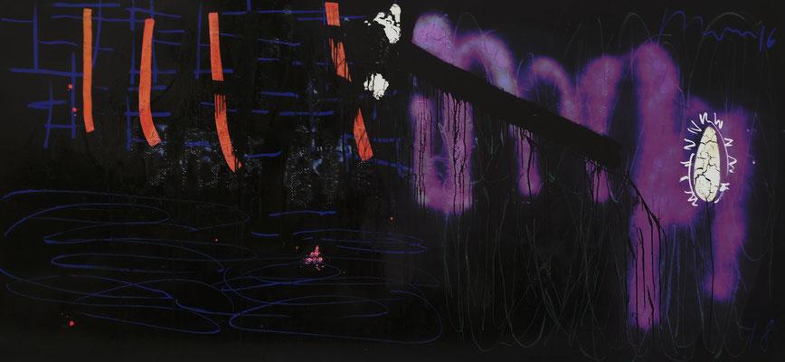 """I.H.S"", 310x150cm, Hinterglasfarbe, Öl, Sprühlack, Bitumen (poliert) auf Leinwand, 2018"