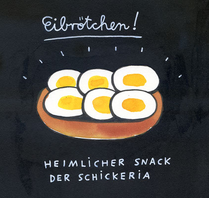 """Originalzeichnung """"Eibrötchen – heimlicher Snack der Schickeria"""""""