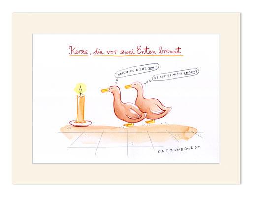 """Originalzeichnung """"Kerze, die vor zwei Enten brennt"""""""