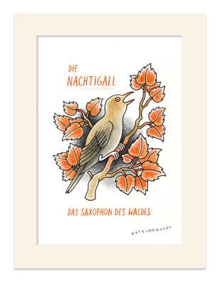 """Originalzeichnung """"Die Nachtigall – das Saxophon des Waldes"""""""