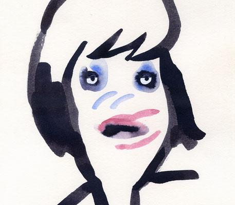 """Originalzeichnung """"Frau, die sich ohne Spiegel geschminkt hat"""""""