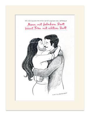 """Originalzeichnung """"Mann mit falschem Bart küsst Frau mit echtem Bart"""""""