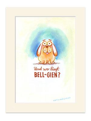 """Originalzeichnung """"Und wo liegt BELL-GIEN?"""""""