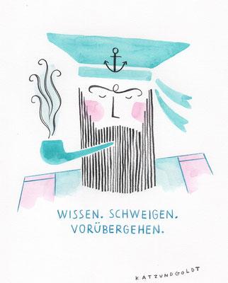 """Originalzeichnung """"Wissen. Schweigen. Vorübergehen."""""""