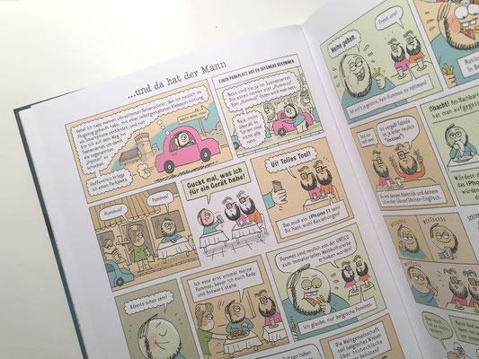 """Originalseiten  –  Seite 20, 21 –  aus dem Katz und Goldt-Buch """"Lust auf etwas Perkussion, mein kleiner Wuschel?"""" (2016)"""