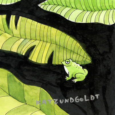 """Originalzeichnung """"Netter kleiner Frosch sitzt in der Ecke und denkt: Wat'n Quack!"""""""