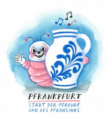 """Originalzeichnung """"Pfrankpfurt – Stadt des Pfreude und des Pfrohsinns"""""""