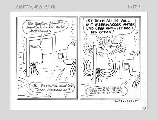 """Originalzeichnung """"Quallennachbarschaft in den 50er Jahren"""""""