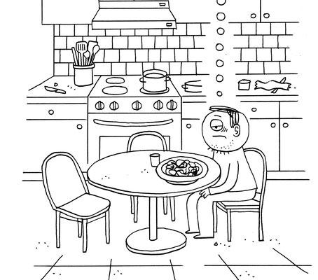 """Originalzeichnung """"Mir schmeckt mein selbstgekochter Fraß nicht mehr"""""""