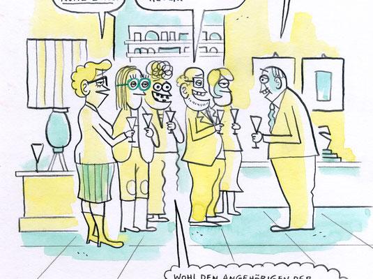 """Originalzeichnung """"Die Kunstszene feiert den 60-jährigen Künstler"""""""