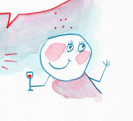 """Originalzeichnung """"Brombeerlikör predigen, aber Himbeerlikör trinken!"""""""